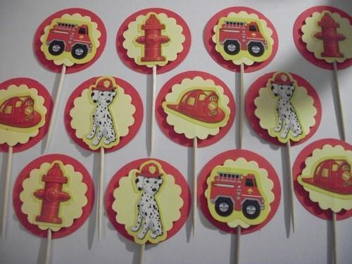 12ct Fire truck assortment cupcake toppers