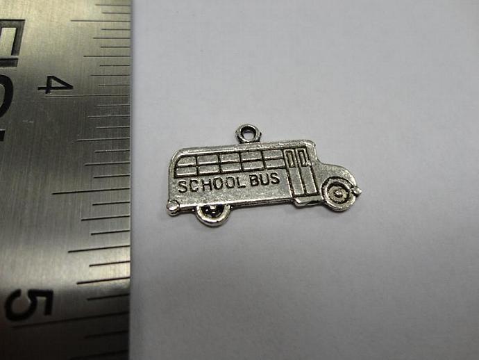 School Bus Charm - Silver