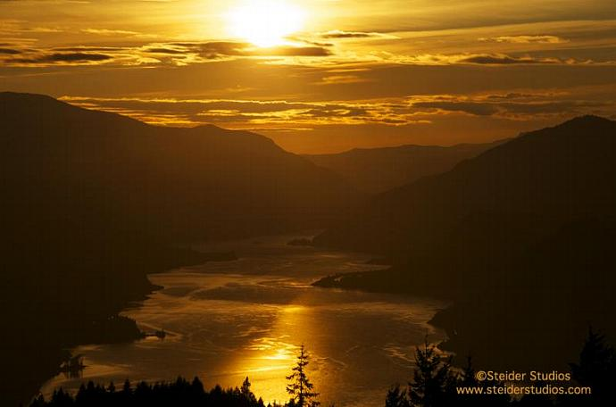 Golden Sunset Over Columbia River Gorge, Landscape Photograph All Occasion
