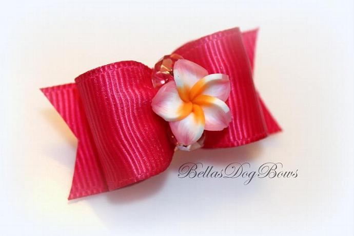 7/8 Dark Rose Flower Bow with Matching Flags. Lovely Plumeria Flower and Faceted