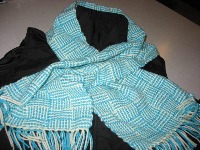 Turquoise and Cream Basket weave hand woven scarf
