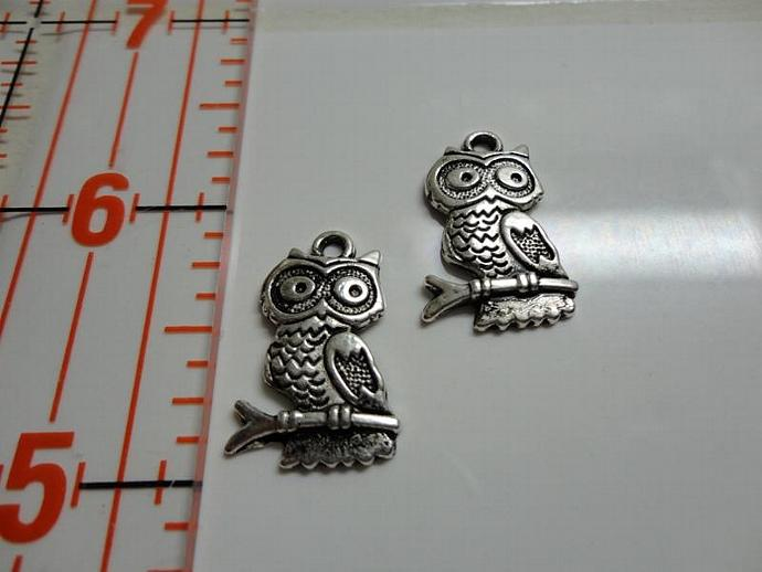 Owl on Branch Charm - Silver