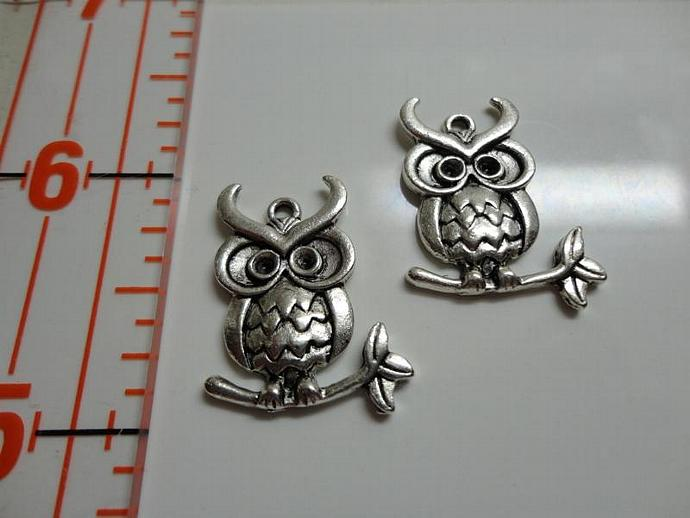 Owl on Branch Charm #002 - Silver