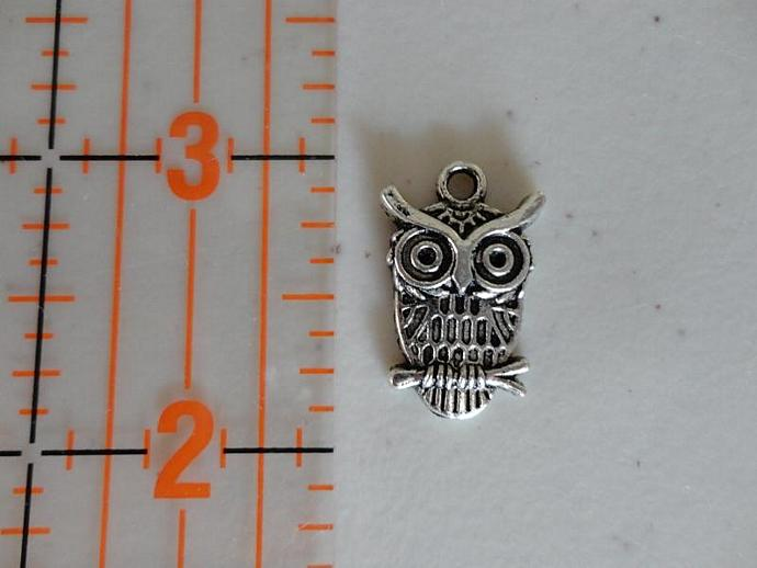Owl on Branch Charm #003 - Silver