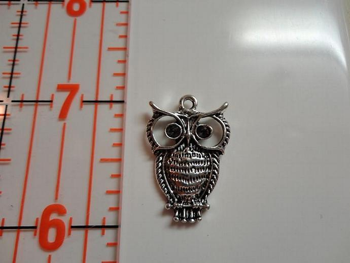 Owl on Branch Charm #005 - Silver