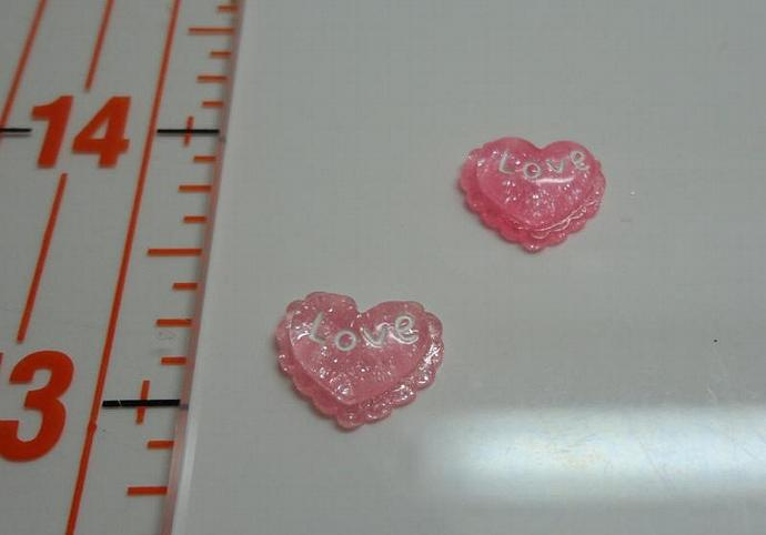 Love Heart Resin Charm - Red