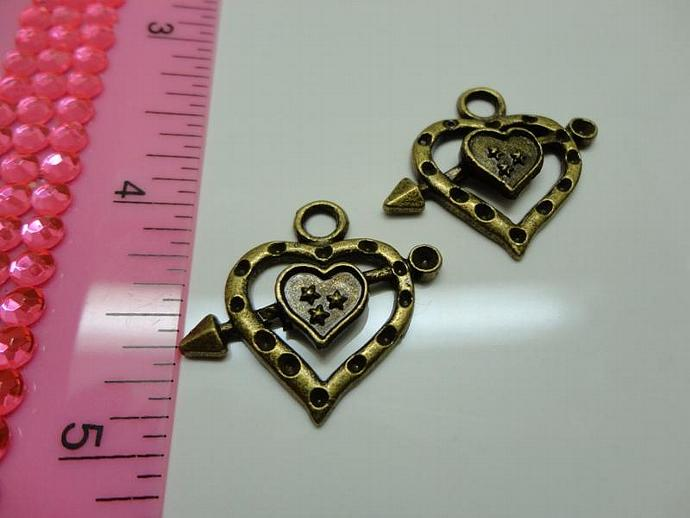 Heart and Arrow Charm - Bronze