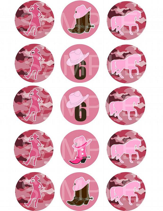 Cowgirl Silhouette Pink Camo Cupcake Toppers