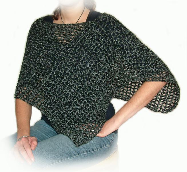 Easy Crochet Poncho Pdf Pattern Instant Rensfibreart