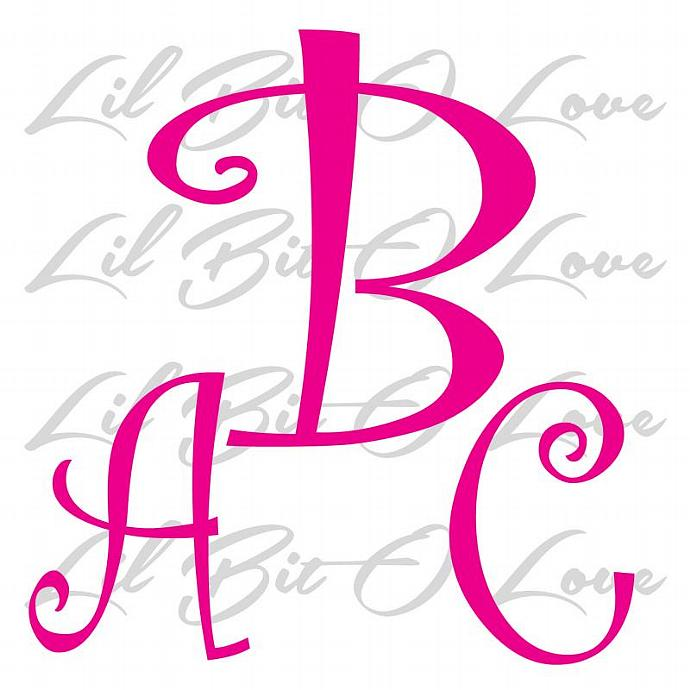 Personalized Curly Font Monogram Vinyl Decal with your custom initials 3 letters