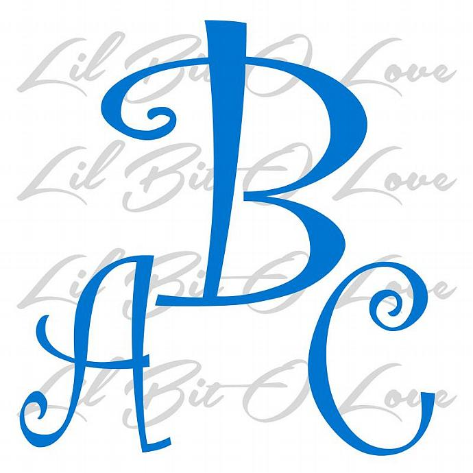 personalized curly font monogram vinyl decal lilbitolove
