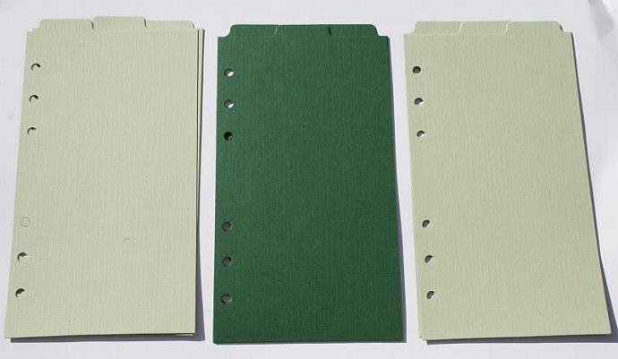 9 Green top tab dividers for Personal Filofax