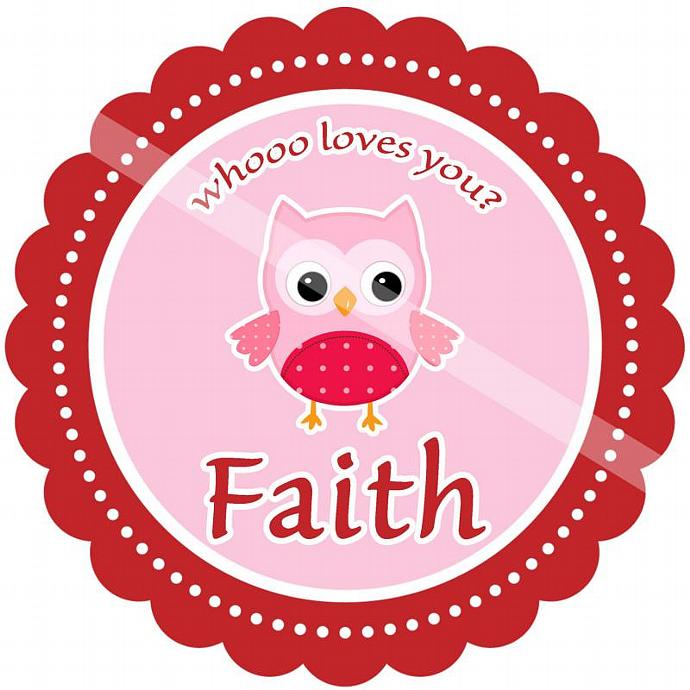 Personalized Iron-On Transfer for Kid's T-shirts. Digital Image. Faith Whoooo