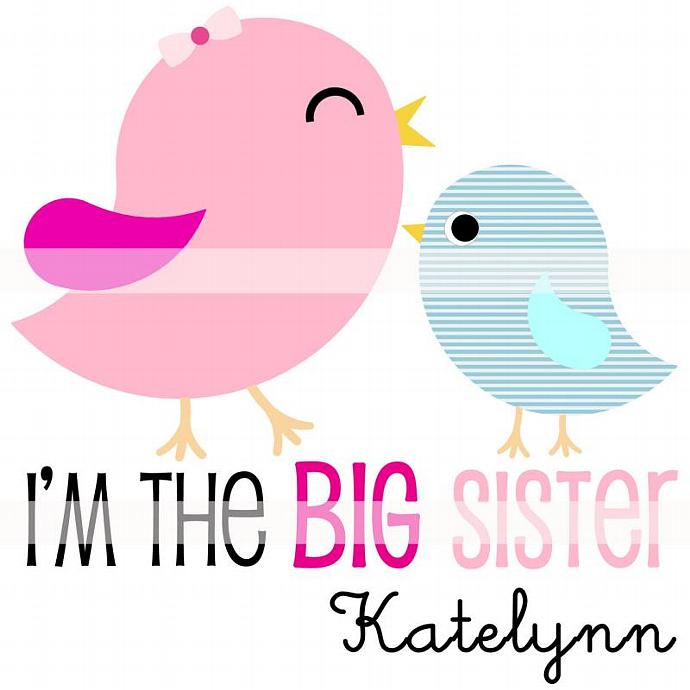 Personalized Iron-On Transfer. Digital Image. Big Sister Bird.