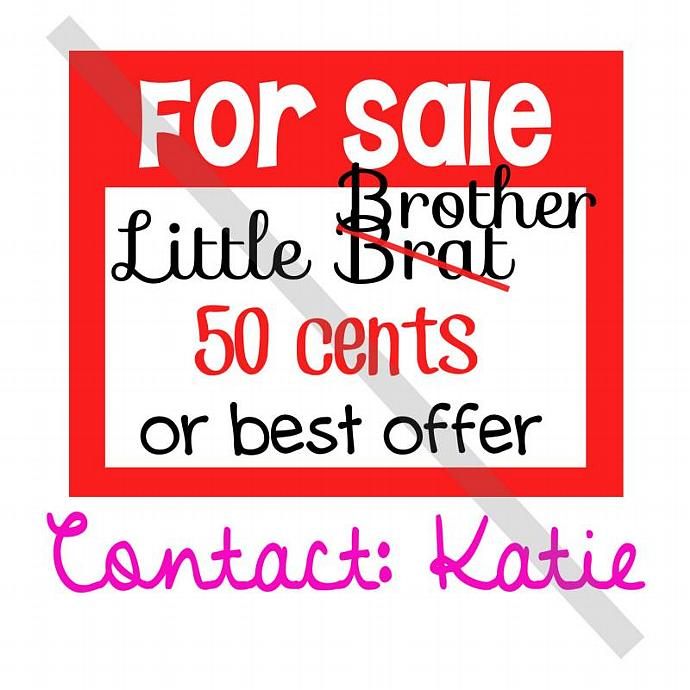 Iron-On Transfer. Digital Image. For Sale Little Brat Brother 50 cents or best
