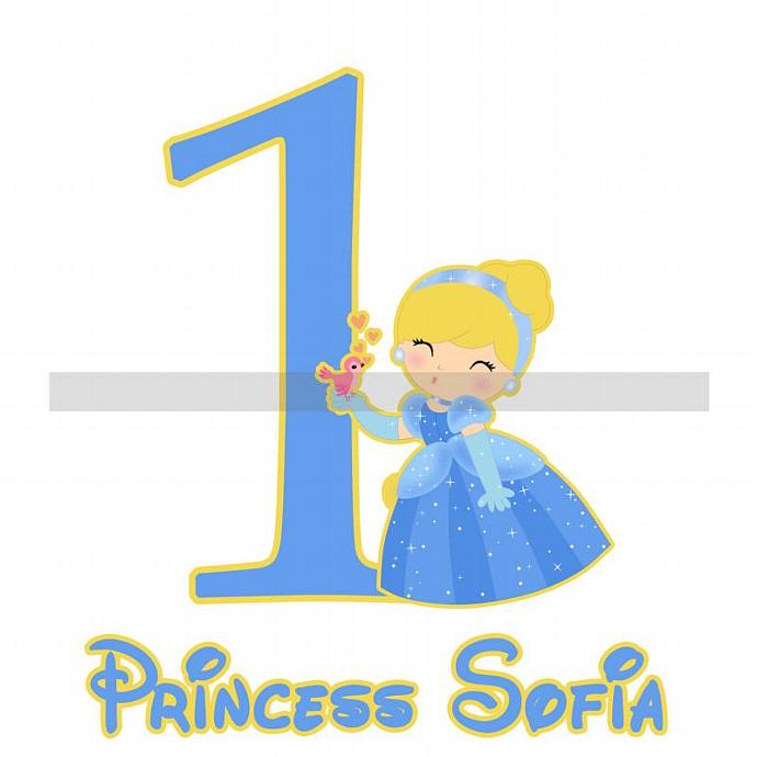 Personalized Iron-On Transfer. Digital Image. Cinderella with Number / Age.