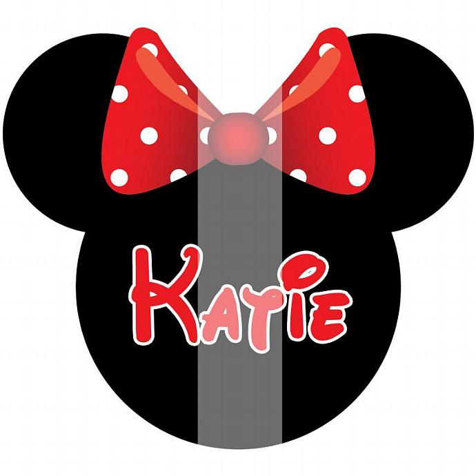 Personalized Iron-On Transfer. Digital Image. Minnie Mouse Head with Name.