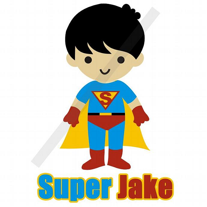 Personalized Iron-On Transfer. Digital Image. Super Jake. Super Hero Boy.