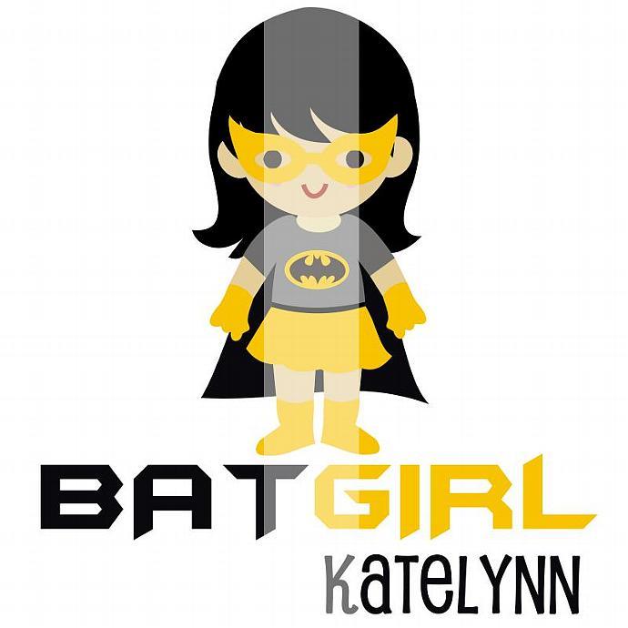 Personalized Iron-On Transfer. Digital Image. Batman for Girls.