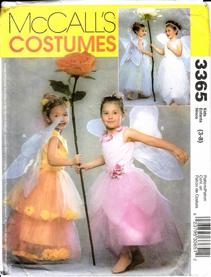McCalls Costume Pattern 3365 Girls Flower Fairy Size 3 - 8 UNCUT