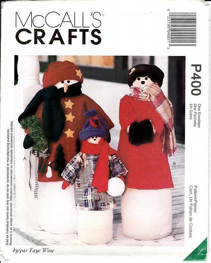 McCalls Craft Pattern P400 9446 Snowman Greeters