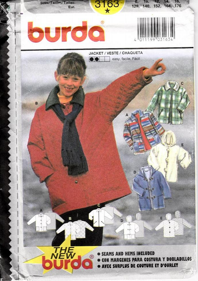 BURDA Pattern 3163 Children's Jacket  / Vest Size 8-16