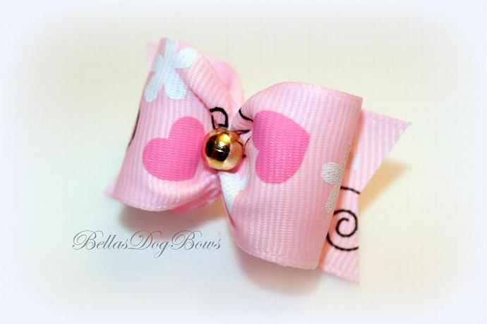 """1"""" Valentines Day Bow. Pink Grosgrain with Golden Bead"""