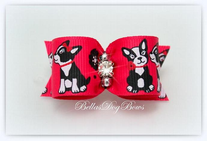 "7/8"" Valentines Day Puppy Love Bow. Swarovski Crystals - Silver Beads"