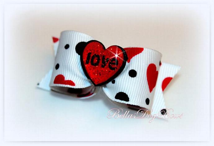 "7/8-L White, Red & Black Hearts and Dots Print Bow with Glitter ""Love"" Heart"