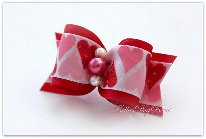 "7/8"" Valentines Day Bow. Red Satin with Pink Rose Pearl embraced by two White"