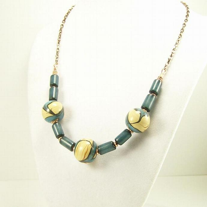 Turquoise Beaded Necklace, Handpainted Beads