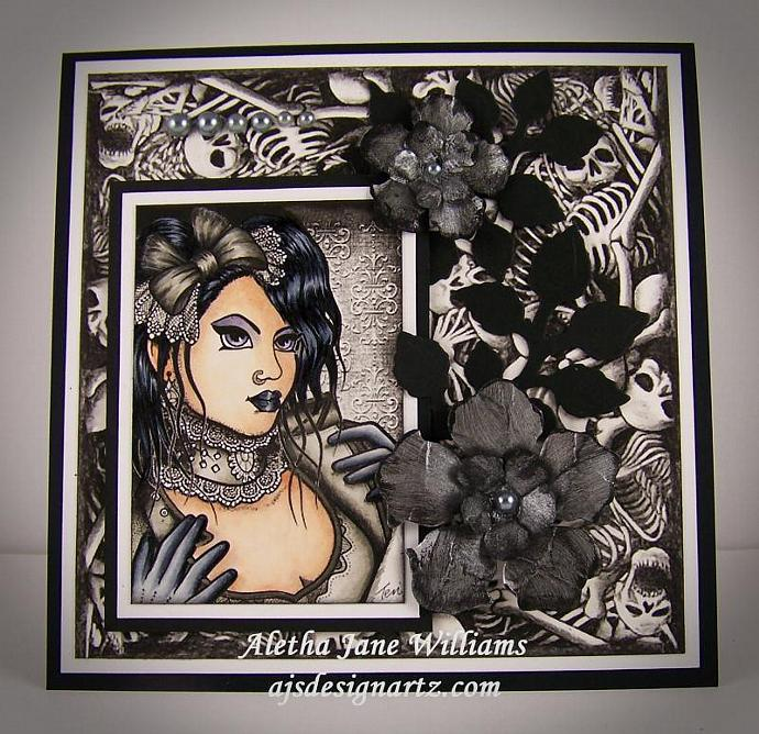 Leather & Lace Gothic Handmade OOAK Art Greeting Card