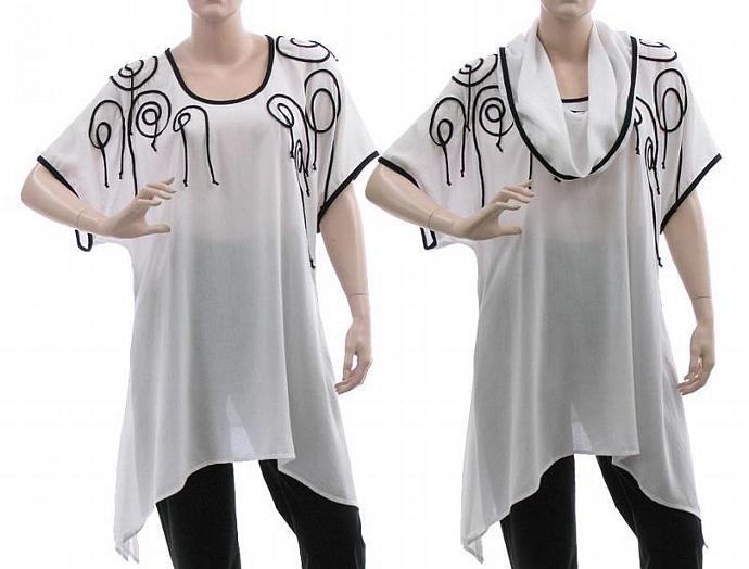Handmade flared boho tunic with detachable hood / lagenlook for plus size women