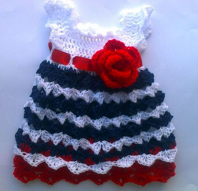 Crochet Baby Dress White Red Blue Patriotic By