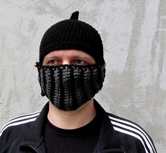 Mens Hat Crocheted Knight Helmet Black Knight By Ateszter On