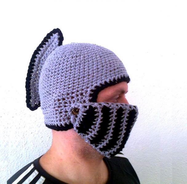 Knight Helmet Hat With Movable Visor Crochet By Ateszter On Zibbet