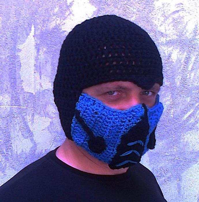 Crocheted Mortal Kombat Inspired Sub Zero Mask By Ateszter On Zibbet