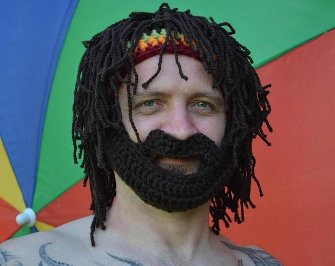 Beard Hat Rasta Hat Bearded Beanie Men s Beanie Beard Hat with Rasta  Bandana and 784a6ac6ea2