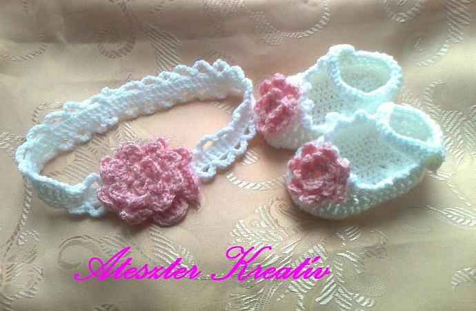 Crochet White Pink Baby Shoes And Headband Set By Ateszter On Zibbet