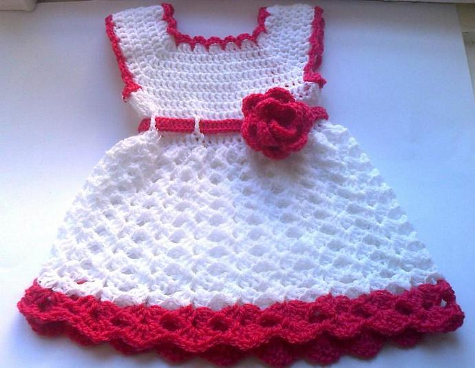 Baby Dress In White And Pink Girl Clothes Baby By Ateszter On