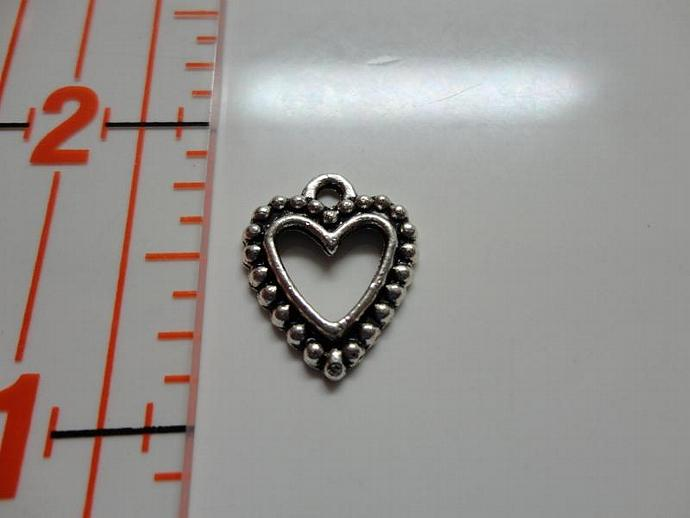 Dotted Heart Charm - Silver