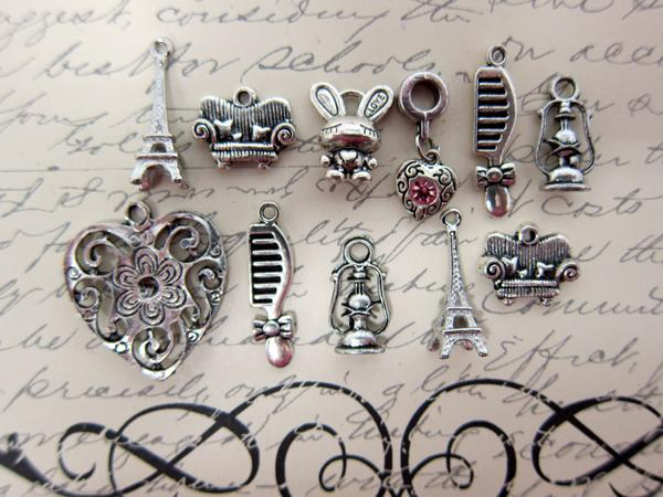 Girly Charm Set - 11pc Silver