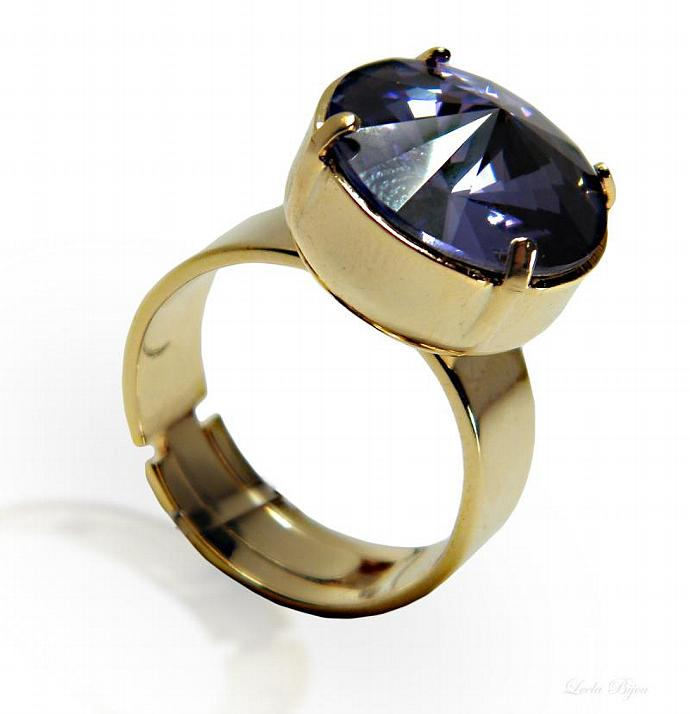 Empire Ring - Purple Swarovski Crystal Gold Plated