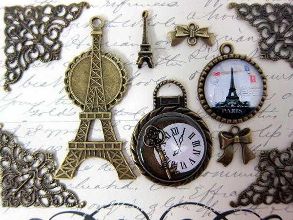 Time in Paris Charm Set - 10pc Bronze stl