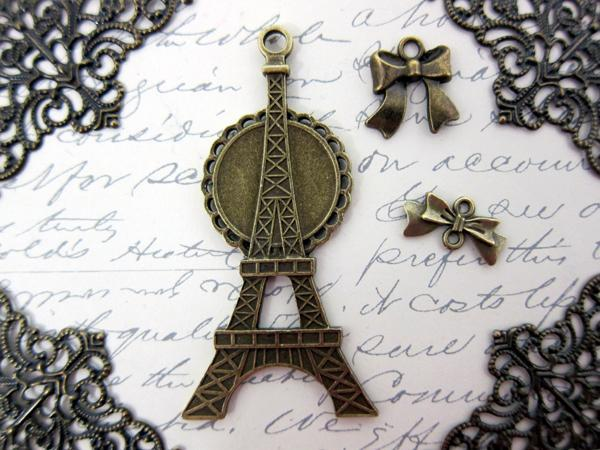 Eiffel Tower Charm Set - 7pc Bronze