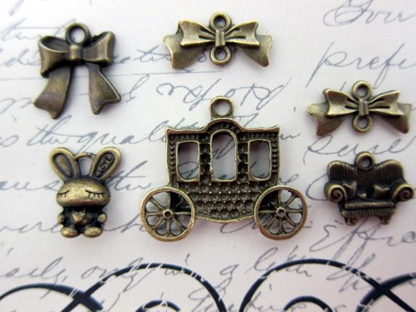 Little Princess Charm Set - 6pc Bronze