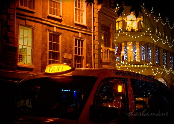 "I am the passenger - Christmas taxi lights 5 x 7"" fine art photography print"