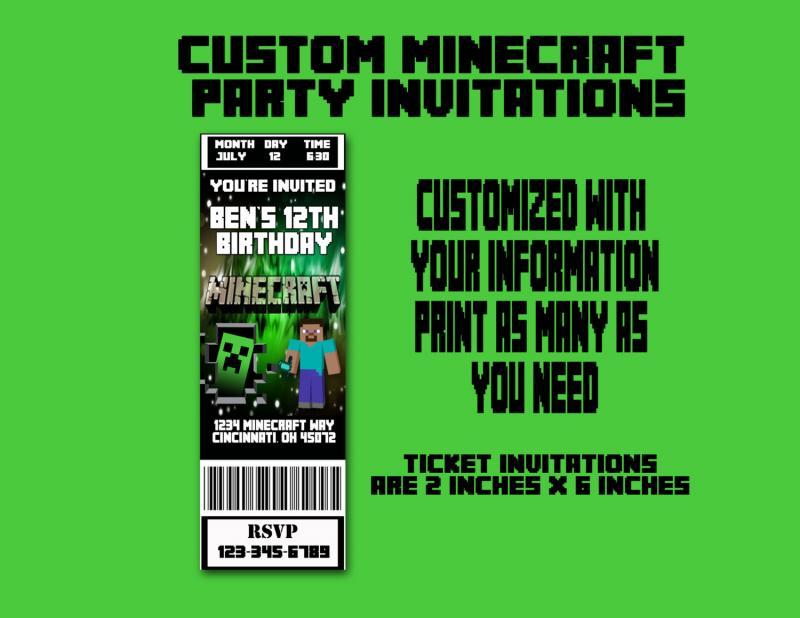 Custom Printable Minecraft Inspired By Bonkers4Bottlecaps On Zibbet