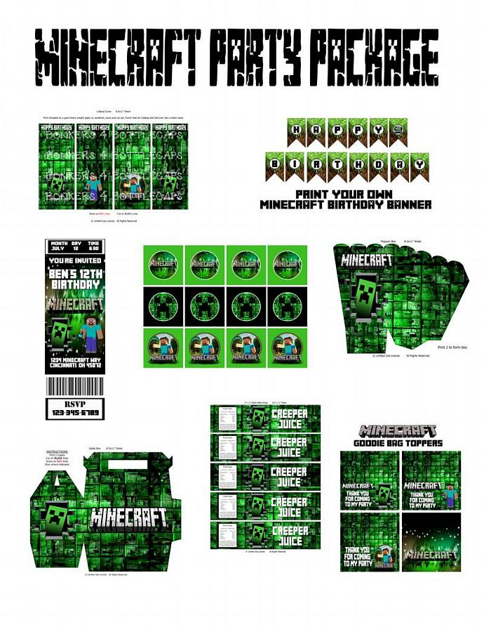 PERSONALIZED Minecraft Party Package EVERYTHING You Need