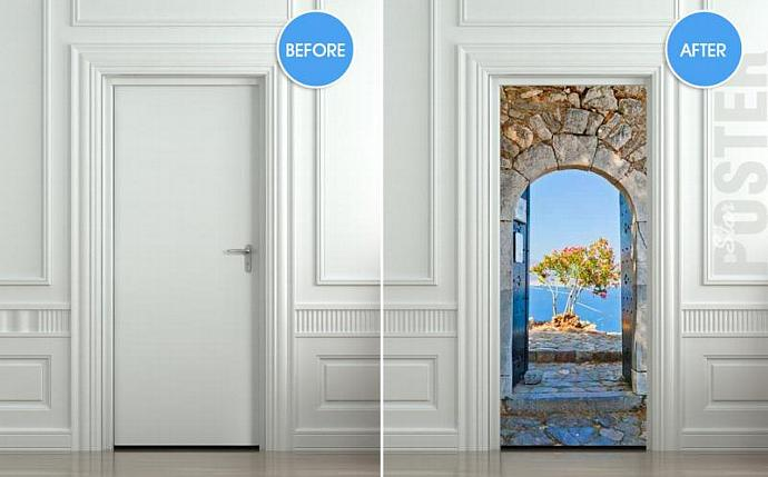 Door STICKER Greece health resort travel landscape mural decole film